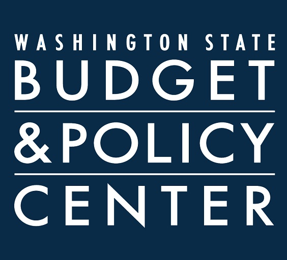 Logo that reads Washington State Budget and Policy Center in white letters over a dark background