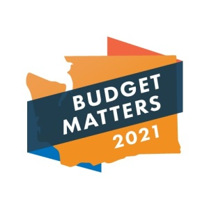 Orange outline of Washington state with a blue ribbon wrapped around the map. The words Budget Matters are written in white over the ribbon in the center and 2021 is in white in the bottom corner of the state shape.